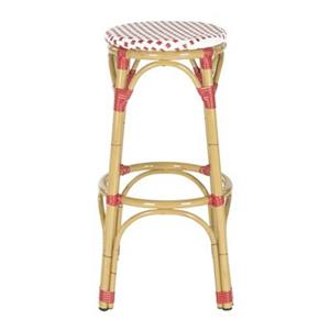 Safavieh Fox 30.7-in x 20.5-in White/Red Checkered Wicker Kipnuk Indoor/Outdoor Bar Stool