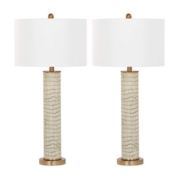 Safavieh 32.50-in Cream Ollie Table Lamp (Set of 2)