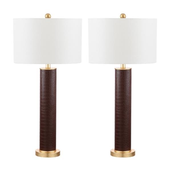 Safavieh 32.50-in Brown Ollie Table Lamp (Set of 2)
