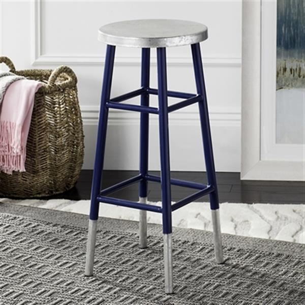 Safavieh Kenzie 30-in Navy Silver Dipped Bar Stool
