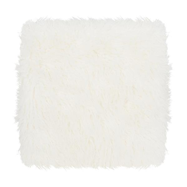Safavieh Horace 16.50-in x 21.00-in White Faux Sheepskin Square Bench