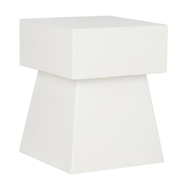 Safavieh 18.10-in White Zen Mushroom Concrete Outdoor Accent Table