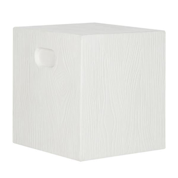 Safavieh 16.50-in Ivory Cube Concrete Outdoor Accent Table