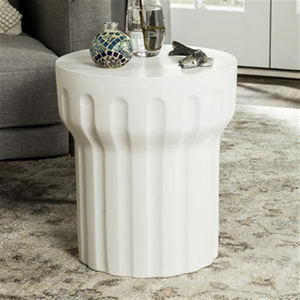 Safavieh 17.70-in Ivory Vesta Concrete Outdoor Accent Table