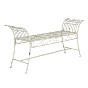 Safavieh Hadley 27-in x 56.3-in Antique White Outdoor Bench