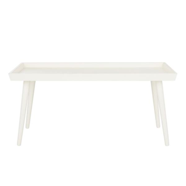 Safavieh Nonie Distressed White Wood Coffee Table With Tray Top Table