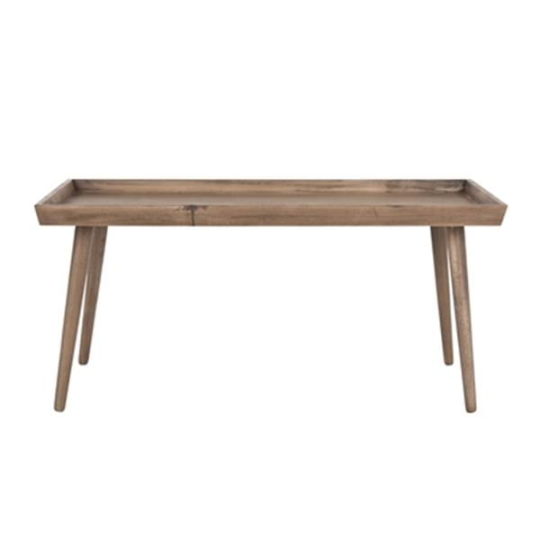 Safavieh Nonie Desert Brown Wood Coffee Table With Tray Top Table