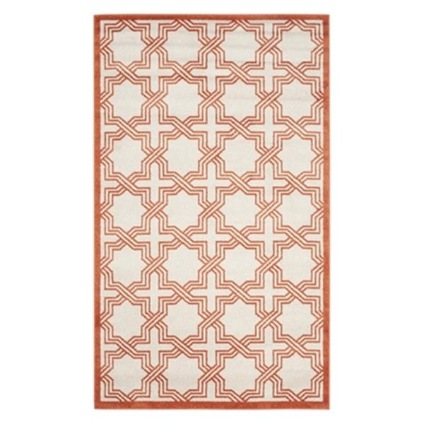 Safavieh Amherst 6 ft x 9 ft Ivory and Orange Indoor/Outdoor Rug