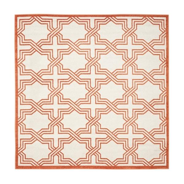 Safavieh Amherst 7 ft x 7 ft Ivory and Orange Indoor/Outdoor Rug
