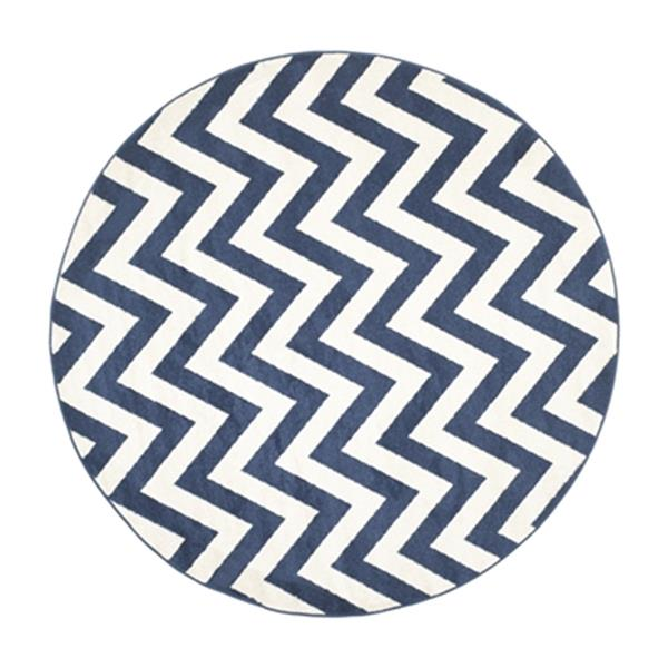 Safavieh Amherst 7 ft x 7 ft Navy and Beige Chevron Indoor/Outdoor Rug