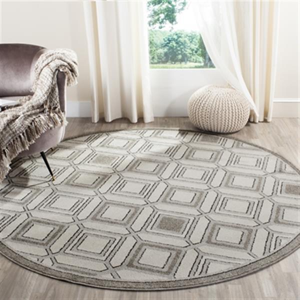 Safavieh Veranda Round Ivory/Grey Geometric Indoor/Outdoor Rug