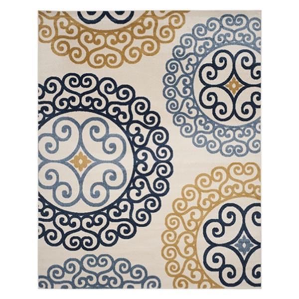 Safavieh Veranda 7-ft x 10-ft Ivory/Gold Geometric Indoor/Outdoor Rug