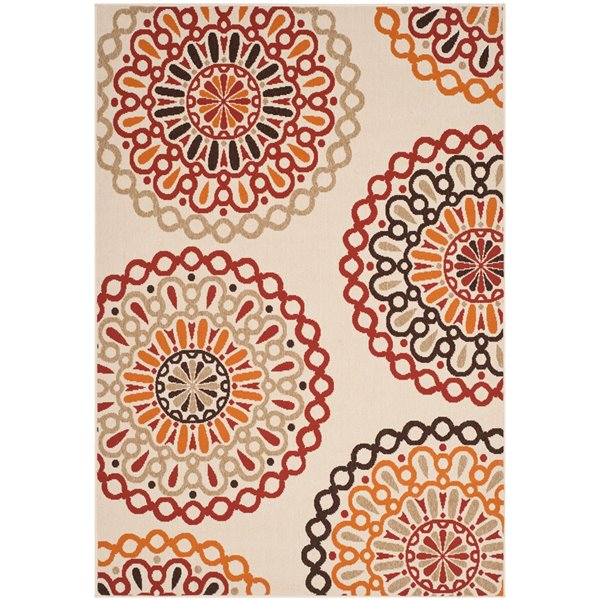 Safavieh Veranda 7-ft x 10-ft Cream/Red Geometric Indoor/Outdoor Rug