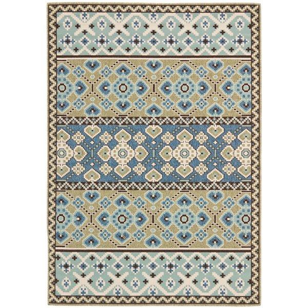 Safavieh Veranda 7-ft x 10-ft Green/Blue Geometric Indoor/Outdoor Rug