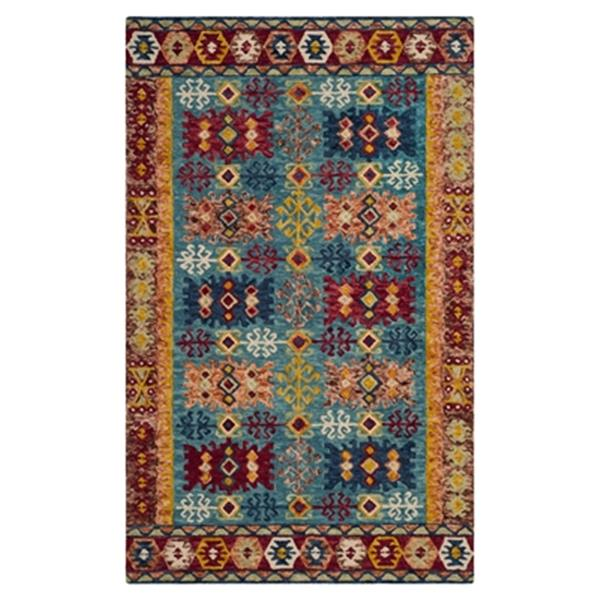 Safavieh Aspen Blue, Red and Orange Hand Tufted Area Rug,APN
