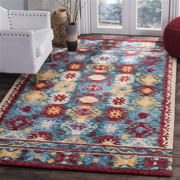 Safavieh Aspen Blue and Red Hand Tufted Area Rug,APN505A-5