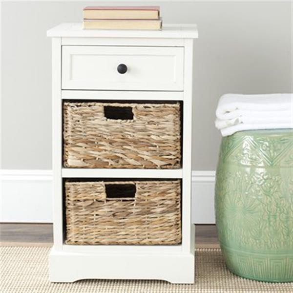 Safavieh Carrie 27.6-in Distressed Cream Storage Side Table
