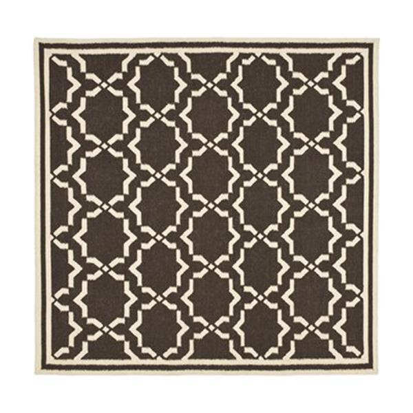 Safavieh Dhurries Chocolate and Ivory Area Rug,DHU545A-6SQ