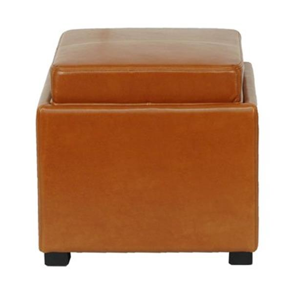 Safavieh Bobbi 17.00-in x 18.00-in Saddle Faux Leather Storage Ottoman
