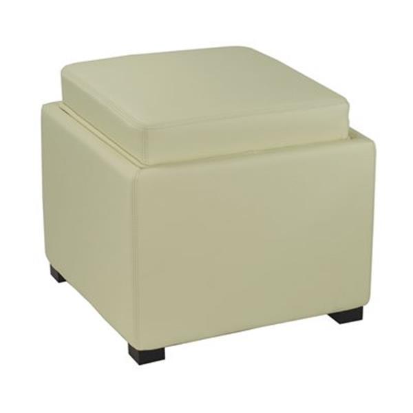 Safavieh Bobbi 17.00-in x 18.00-in White Faux Leather Storage Ottoman