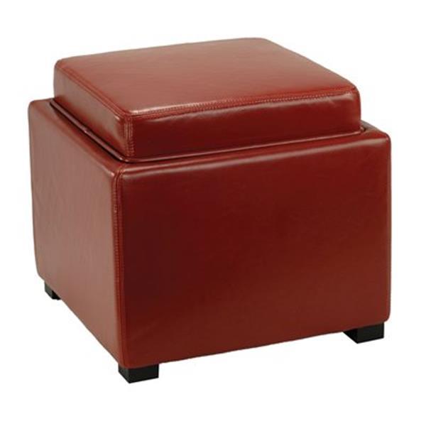 Safavieh Bobbi 17.00-in x 18.00-in red Faux Leather Storage Ottoman