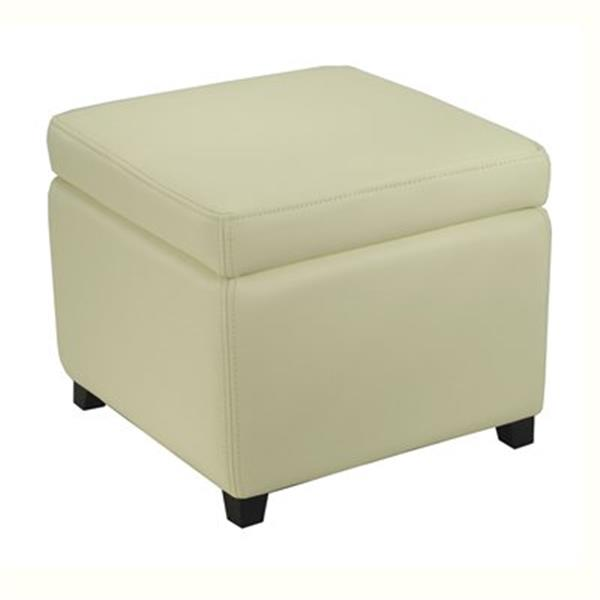 Safavieh Jonathan 17.00-in x 18.00-in White Faux Leather Fliptop Ottoman