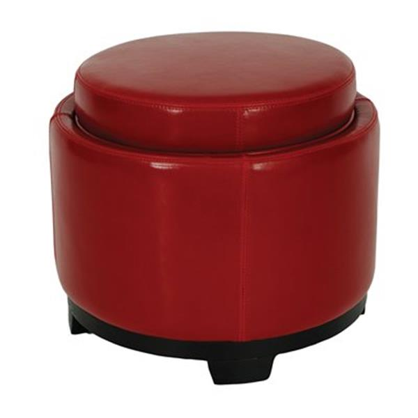 Safavieh 17.00-in x 19.00-in Red Faux Leather Storage Tray Ottoman