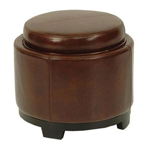 Safavieh 17.00-in x 19.00-in Cordovan Faux Leather Storage Tray Ottoman
