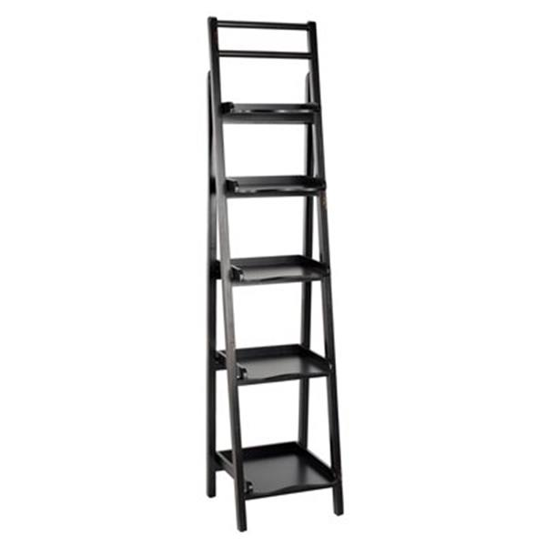 Safavieh Asher 71.3-in x 16.5-in Black Leaning Etagere