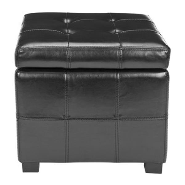 Safavieh Maiden 16.50-in x 17.50-in Black Faux Leather Tufted Ottoman