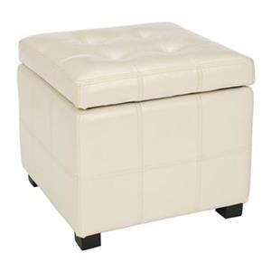 Safavieh Maiden 16.50-in x 17.50-in Cream Faux Leather Tufted Ottoman