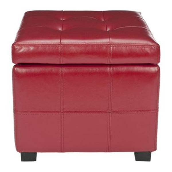 Safavieh Maiden 16.50-in x 17.50-in Red Faux Leather Tufted Ottoman