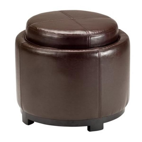 Safavieh Chelsea 17.00-in x 19.00-in Brown Faux Leather Tray Ottoman