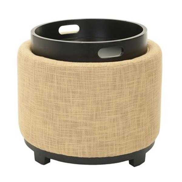 Safavieh Chelsea 17.00-in x 19.00-in Gold Polyester Tray Ottoman