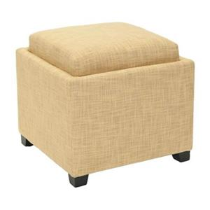 Safavieh Harrison 17.00-in x 18.00-in Gold Polyester Tray Ottoman