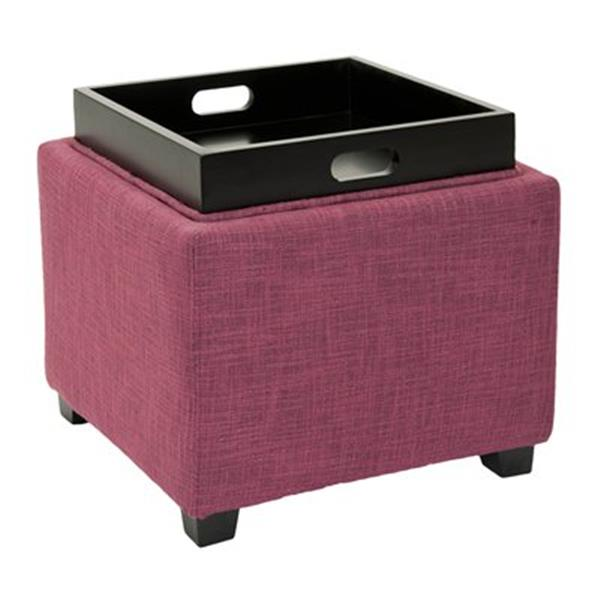 Safavieh Harrison 17.00-in x 18.00-in Rose Polyester Tray Ottoman