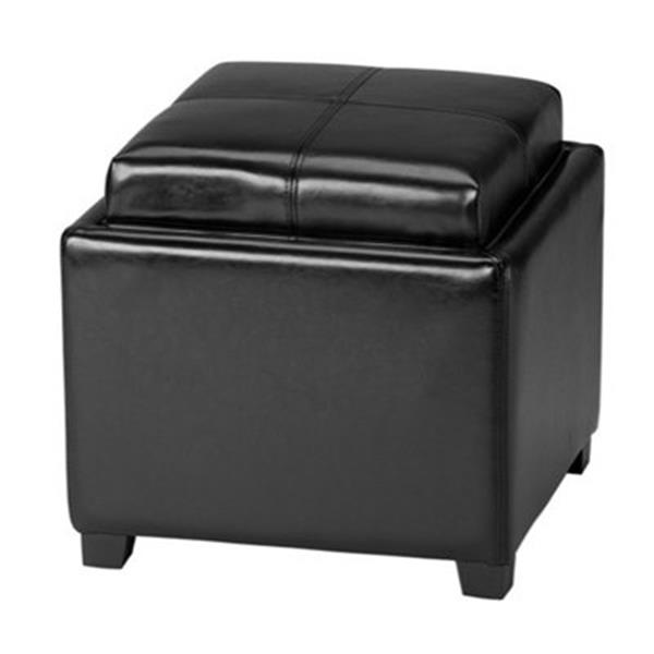 Safavieh Harrison 17.00-in x 18.00-in Black Faux Leather Tray Ottoman