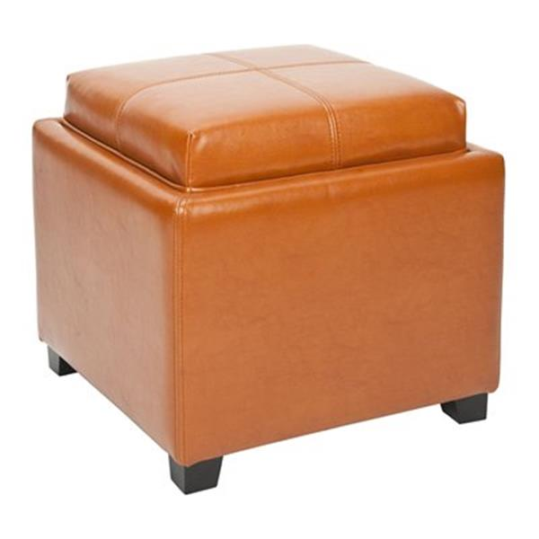 Safavieh Harrison 17.00-in x 18.00-in Saddle Faux Leather Tray Ottoman
