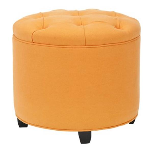 Safavieh Odell 18.00-in x 20.00-in Tangerine Cotton Tufted Ottoman