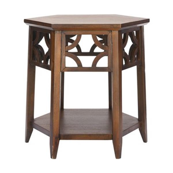 Safavieh Connor 18.1-in Brown Hexagon End Table
