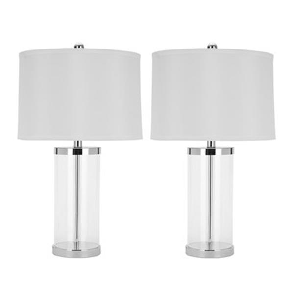 Safavieh 24.50-in Silver Jeanie Glass Cylinder Lamp (Set of 2)