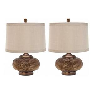 Safavieh 19-in Gold Alexis Bead Lamp (Set of 2)