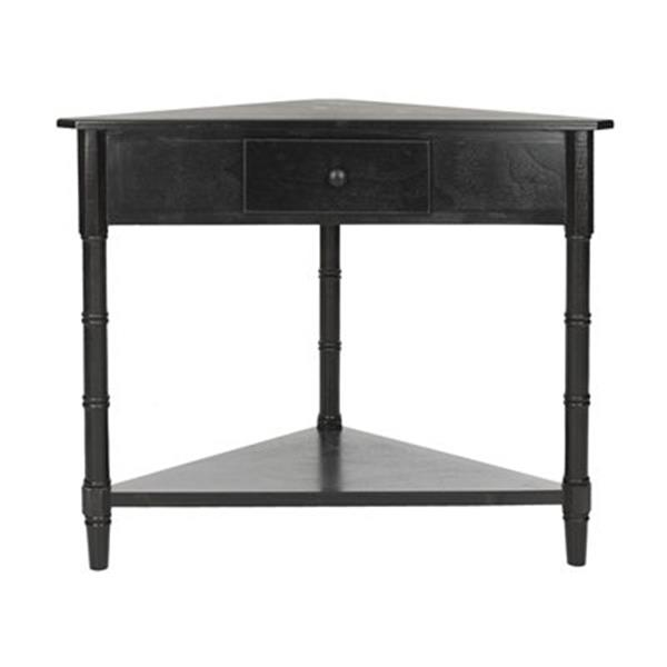 Safavieh Gomez 1-Drawer Distressed Black Wood Corner Console Table