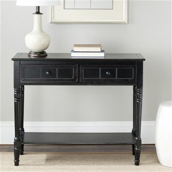 Safavieh Samantha 2-Drawer Rectangular Distressed Black Wood Console Table