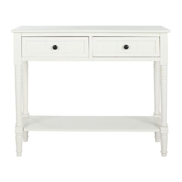 Safavieh Samantha 2-Drawer Rectangular Distressed Cream Wood Console Table