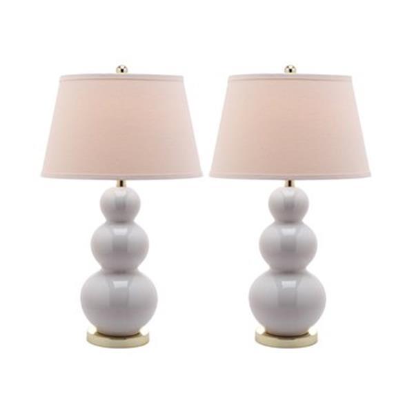 Safavieh 30-in White Pamela Triple Gourd Table Lamps (Set of 2)