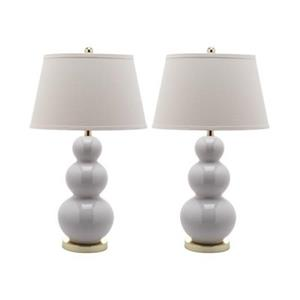 Safavieh 30-in White Pamela Triple Gourd Table Lamps (Set of 2)