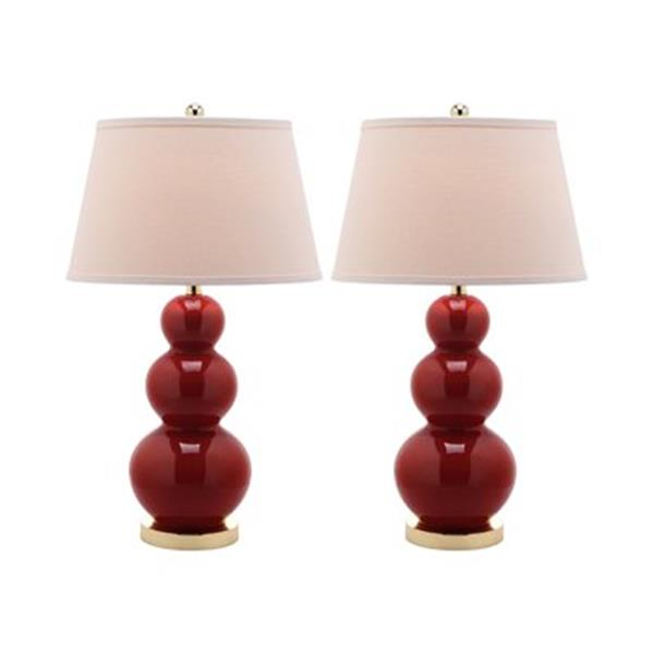 Safavieh 30-in Chinese Red Pamela Triple Gourd Table Lamps (Set of 2)