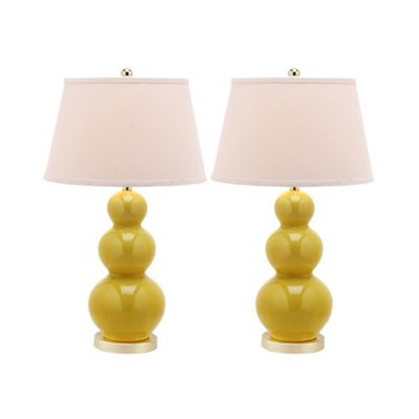 Safavieh 30-in Mustard Gold Pamela Triple Gourd Table Lamps (Set of 2)