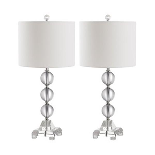 Safavieh 23.50-in Clear Fiona Stacked Crystal Ball Lamps (Set of 2)